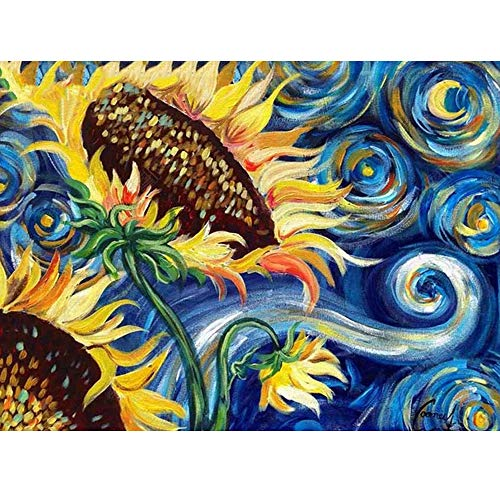 (Diamond Painting Cross Stitch Sunflower by Van Gogh Famous Painting Full Square Drills Diamond Embroidery(24x34cm))