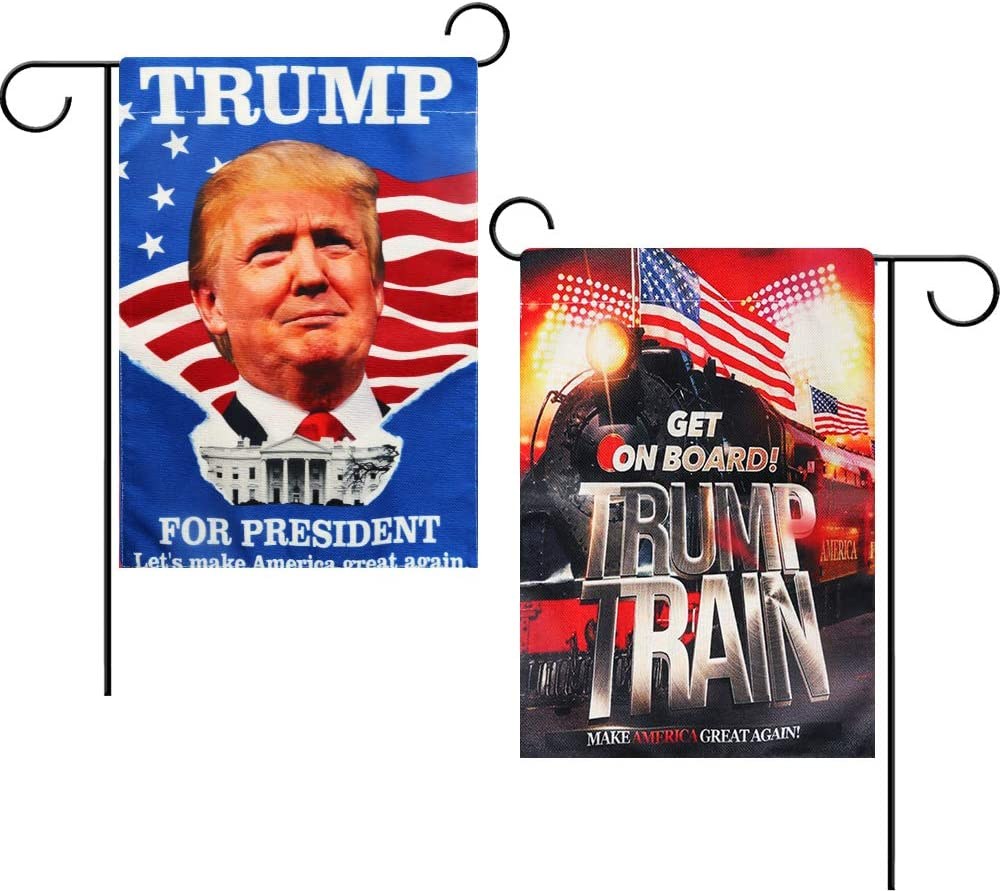 Intsun 2 Pcs Patriotic Garden Flags Burlap Vertical Double Sided 12.5 x 18in Personalized Yard Flag Decorations Outdoor Garden Flag for Lawn Porch Patio (President Trump & Train Pattern)