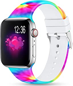Merlion Compatible With Apple Watch Band 38mm 42mm 40mm 44mm For Women/Men,Silicone Fadeless Pattern Printed Replacement floral Bands for iWatch Series 4/3/2/1 (Easter Eggs, 38MM/40MM)