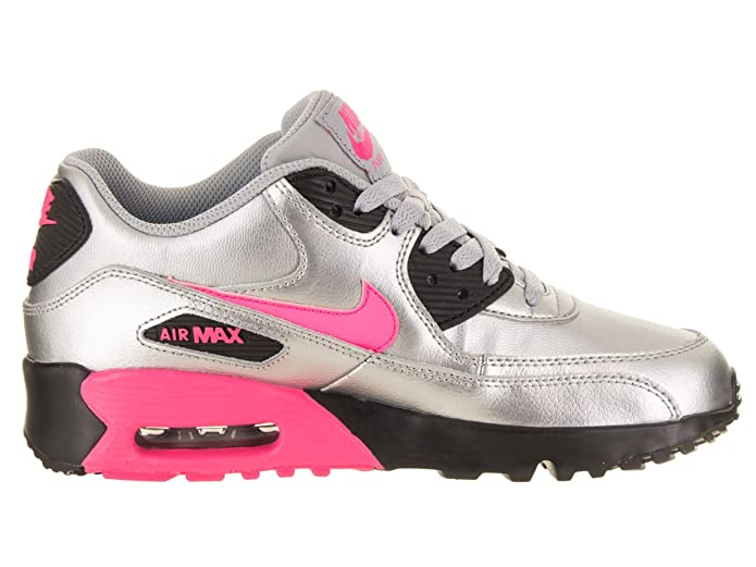 4894a2bc32da4 Nike Air Max 90 LTR (GS) Big Kid's Shoes Metallic Silver/Hyper Pink  833376-004 (5.5 M US)