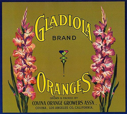 Gladiola Brand Citrus Crate Label - Covina, CA (12x18 SIGNED Print Master Art Print w/ Certificate of Authenticity - Wall Decor Travel - Covina W