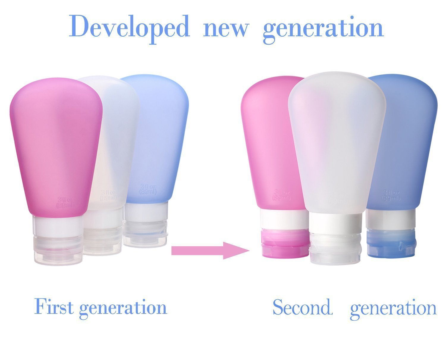 Kitdine Silicone Travel Bottles Squeezable & Refillable Travel Containers For Shampoo, Conditioner, Lotion, Toiletries -TSA Airline Carry-On Approved (Pink,White,Blue, 3oz)