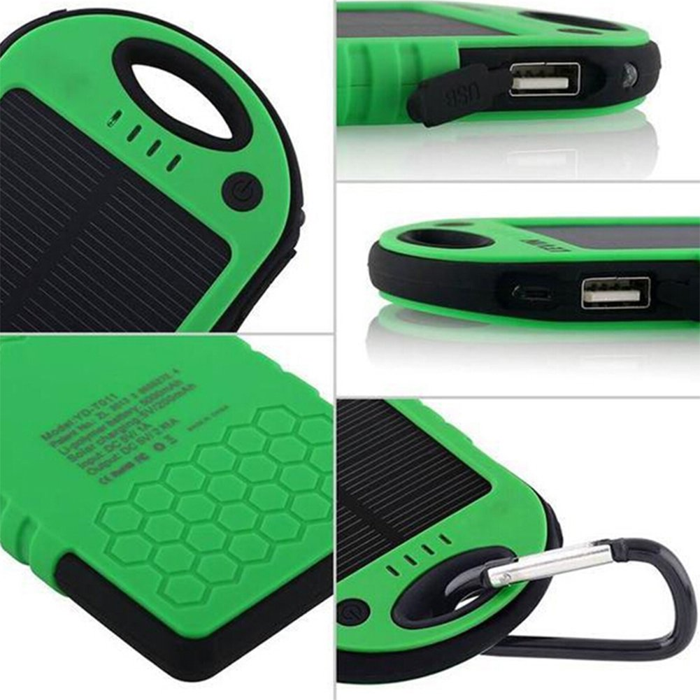 Amazon com cottee 5000mah dual usb port portable solar battery panel green cell phones accessories