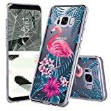 Galaxy S8 Case, Clear Galaxy S8 Case, MOSNOVO Tropical Flamingo Clear Design Printed Transparent Plastic Hard Case with TPU Bumper Protective Back Phone Case Cover for Samsung Galaxy S8 (2017)