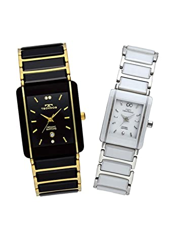 Amazon.com  TECHNOS Watch Pair Watch Men s   Women s ceramic and ... 870fec9e1b
