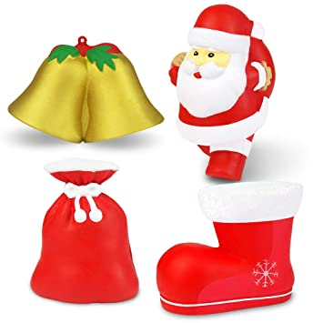 682fc1003dcba Amazon.com  Mypre Jumbo Squishy Slow Rising Rise Gift for Christmas Kids 3D  Santa Socks Ring Bell Stress Relief Hand Toys Party Favor Supplies