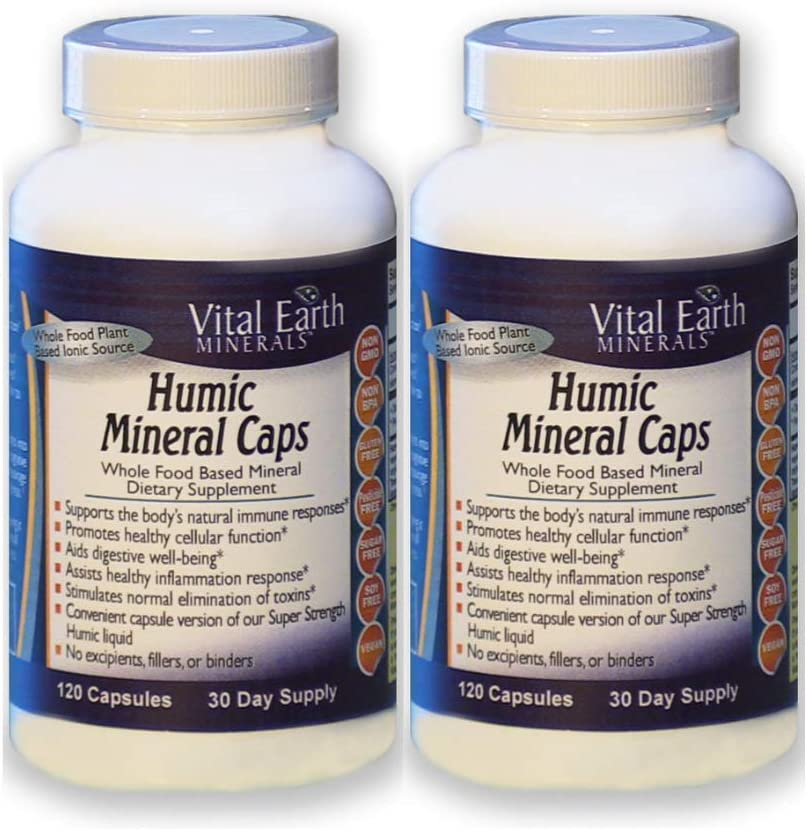 2 Pack! Humic Mineral Caps - 120 Capsules - 30 Day Supply (Each)- Whole Food Plant Based Ionic Trace Minerals -Vegan Multimineral Supplement - Great for Travel! by Vital Earth Minerals