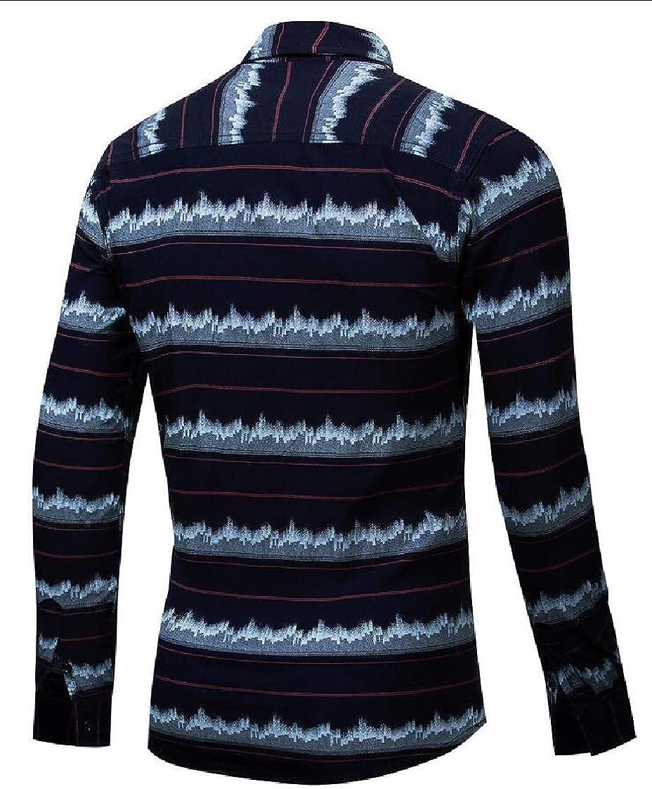 Yayu Mens Casual Cotton Striped Long Sleeve Button Down Dress Shirt