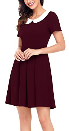 Fancyskin Womens Vintage Peter Pan Collar Short Sleeves Empire Waist Above Knee Casual Flare Dress(