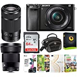 Sony Alpha a6000 Mirrorless Camera w/ 16-50mm, 55-210mm, 30mm f/1.4 Lens Bundle