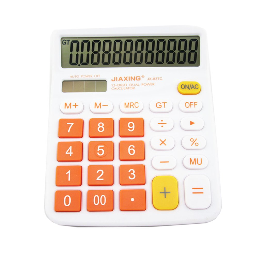 GardenHelper 12 Digits Colorful Large Button LCD Display Desktop Calculator for Office Home School, Solar & Battery Dual Powered Standard Electronic Calculator (Orange)