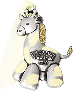 product image for Gloria Duchin 2019 Baby's First Christmas Pewter Christmas Tree Ornaments. Various Styles, Unicorn, Bear, Giraffe (Giraffe)