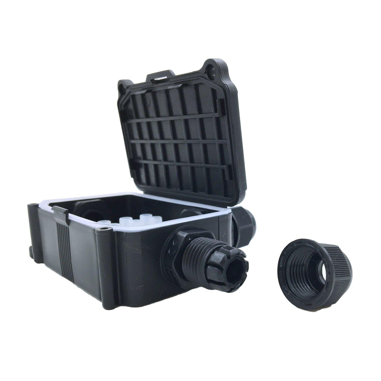 COOLWEST Cajas de empalmes exterior IP66 Impermeable 2 Cables PG9 Caja de Conexi/ón Conector de cable La gl/ándula del conector PVC Black