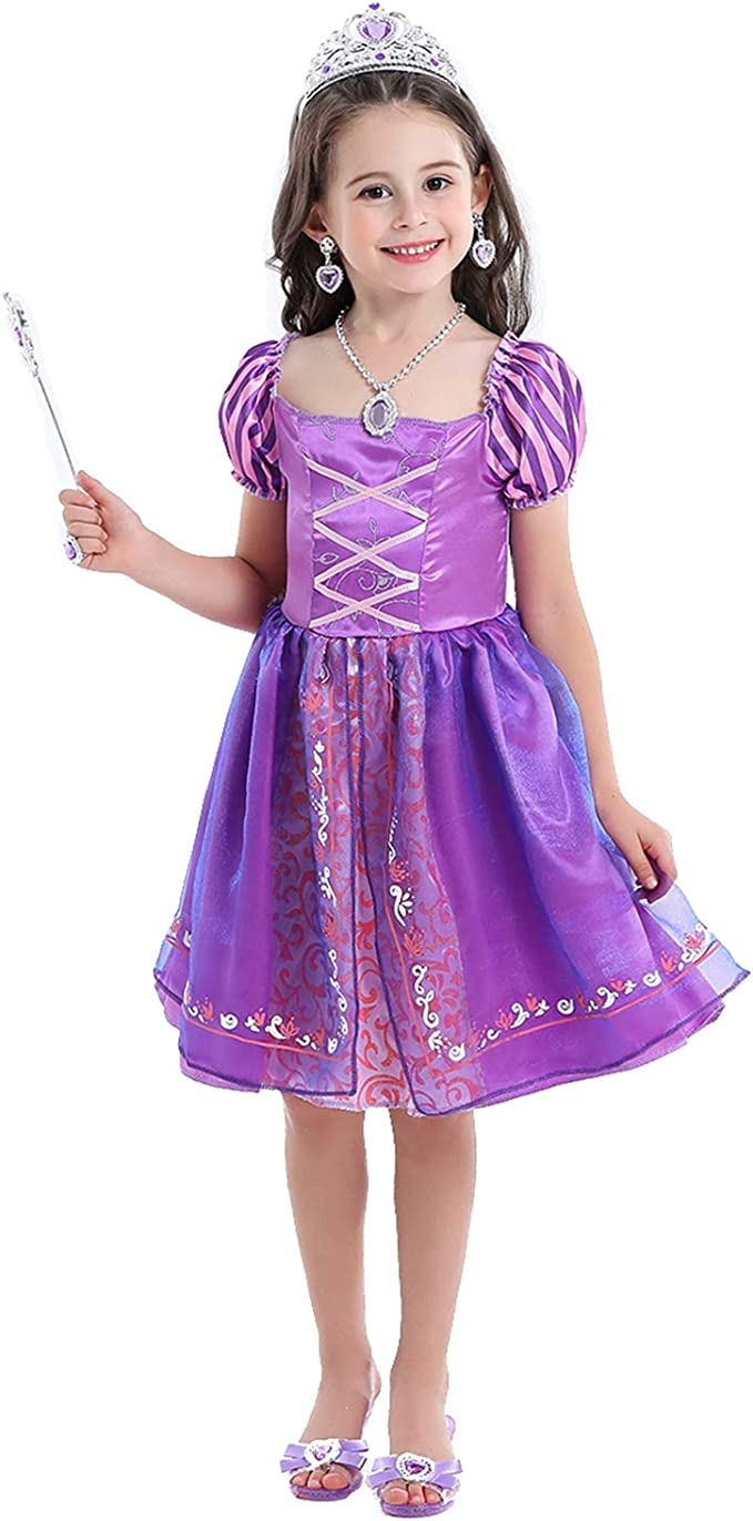 VGOFUN Princess Costume Dress Girls Dress up Costume Role Play Dress for Little Girls Ages 3-6 (Princess Dress -Purple)