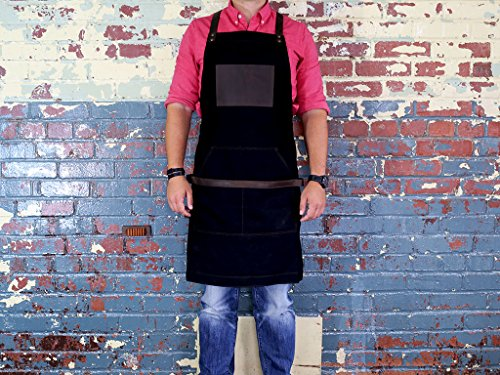 Black Work Apron in Non-Waxed Canvas with Cross Straps Adjustable for Most Waist Sizes for Men Women Vintage Heavy Duty Apron for Butcher, Barber, Metal Working by OleksynPrannyk (Image #1)