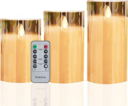 GenSwin LED Flameless Flickering Battery Operated Candles with 10-Key Remote Control Real Wax Moving Wick Pillar Glass Candles/for Festival Wedding Christmas Home Party Decor Gold, Pack of 3