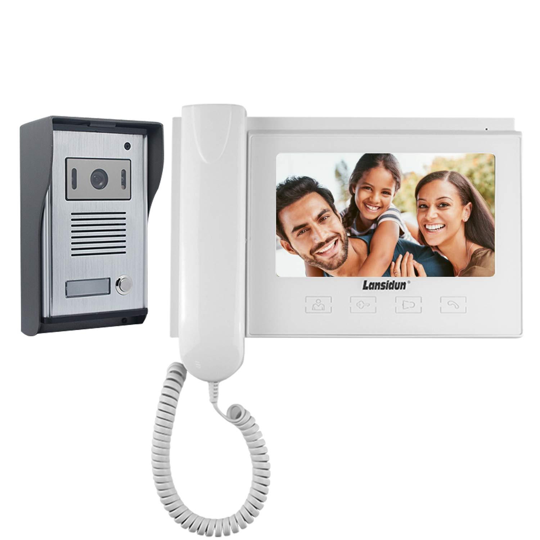 Lansidun Video Intercom 7 Zoll LCD Verdrahtete Türklingel Türsprechanlage Monitor Türsprechanlage mit Remote entsperren und IR Nachtsicht-Weiß