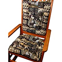Rocker Cushion Set - Woodlands Lodge Peters Cabin - Size Extra-Large / Presidential - Seat Cushion with Ties and Back Rest - Latex Foam Fill, Made in USA - Bear, Elk, Deer, Geese, Fish, Pine