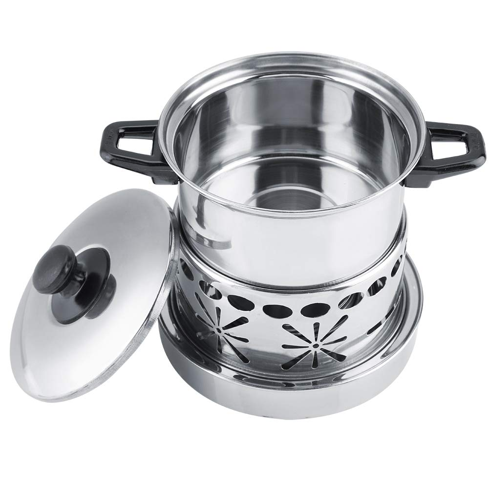 Thick Stainless Steel Hot Pot Utensils Non-Magnetic Alcohol Stove Spirit Burner Outdoor Cookout Picnic Hiking,Home Kitchen Use