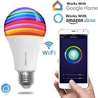 Smart Wi-Fi LED Light Bulb, Dimmable, Color Tunable, A19, 7W, No Hub Required, Compatible with Alexa and Google Home, Phone Control (Plastic Clad White 650lm)