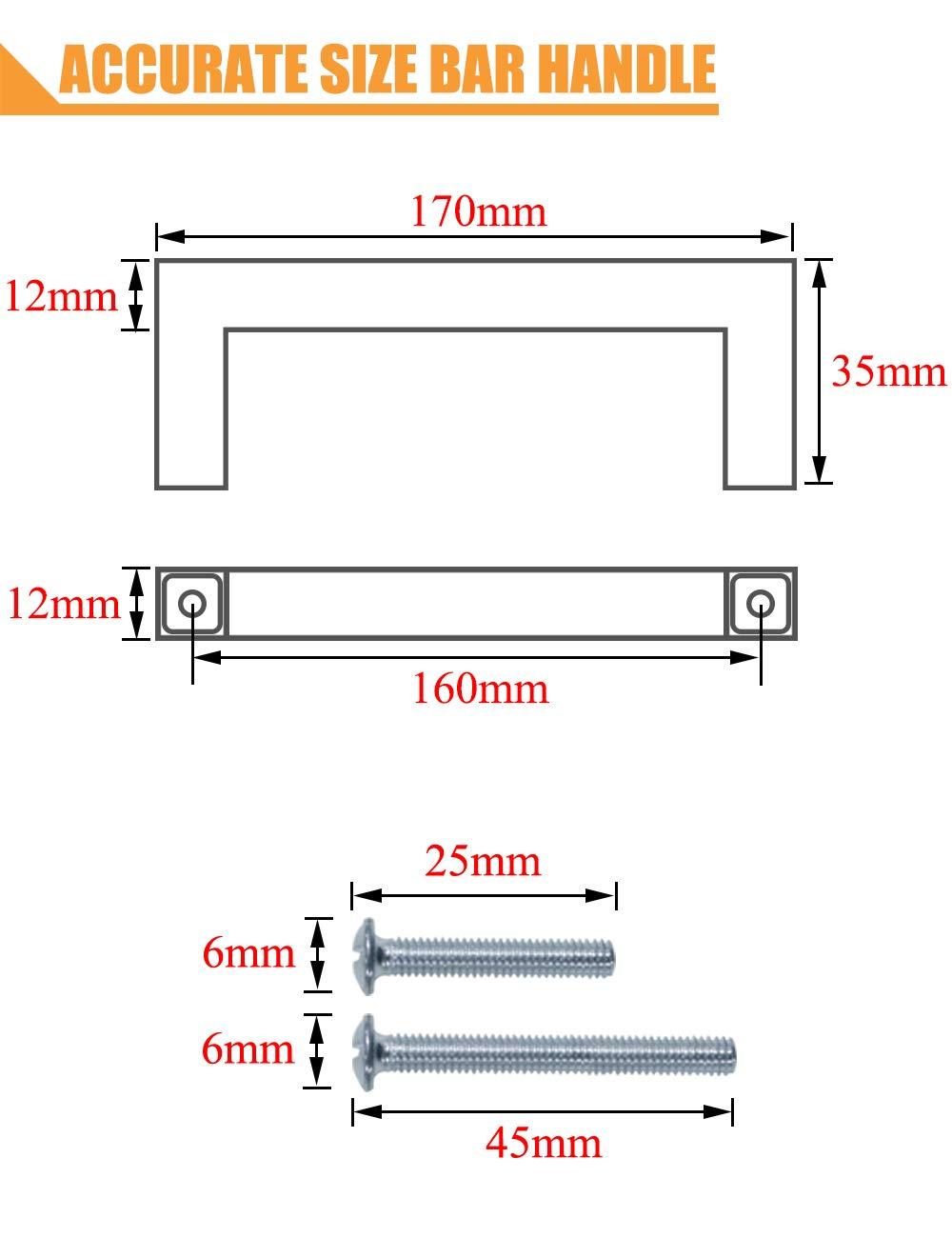 per camera da letto larghezza 12 mm PinLin maniglie per ante di armadietti da cucina cassetti credenze argento foro centrale in acciaio inox in acciaio spazzolato