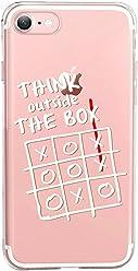 Girlscases® | iPhone 8/7 Hülle | Mit coolen Spruch Aufdruck Motiv | Think Outside The Box | Case transparente Schutzhülle | Farbe: weiß |