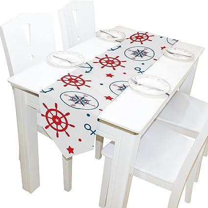 Dragon Sword Nautical Anchor Star Washable Rectangular Kitchen Table Runner  For Dinner Wedding Party Decor 13