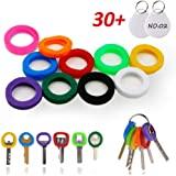 InterUS Key Caps Tags 27 Pcs Silicone Key cap Sleeve Rings Key Identifier Rings Label ID Perfect Coding System To Identify Your Key in 9 Different Colors