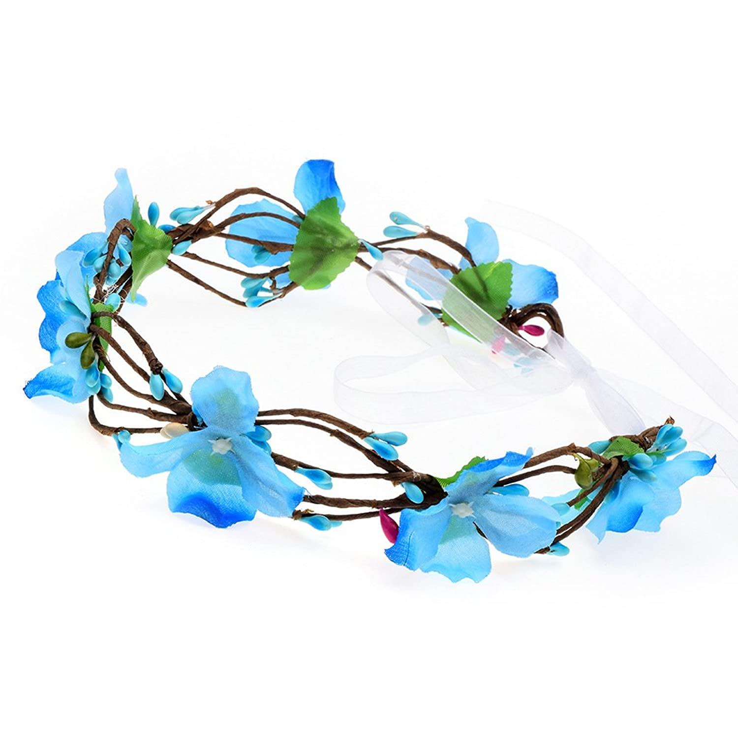 Floral Fall Fairy Woodland Blue Hair Wreath Hippie Headbands Boho Bridal Headpiece F-65