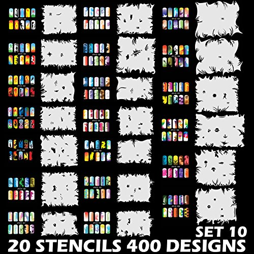 Custom Body Art Airbrush Nail Stencils - Design Series Set # 10 Includes 20 Individual Nail Templates with 20 Designs each for a total of 400 Designs of Series (Airbrush Art Stencil)