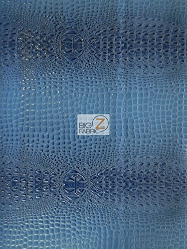 Alligator Embossed Upholstery Vinyl Fabric by The Yard 2 Tone 3D Crocodile (Oasis Blue)