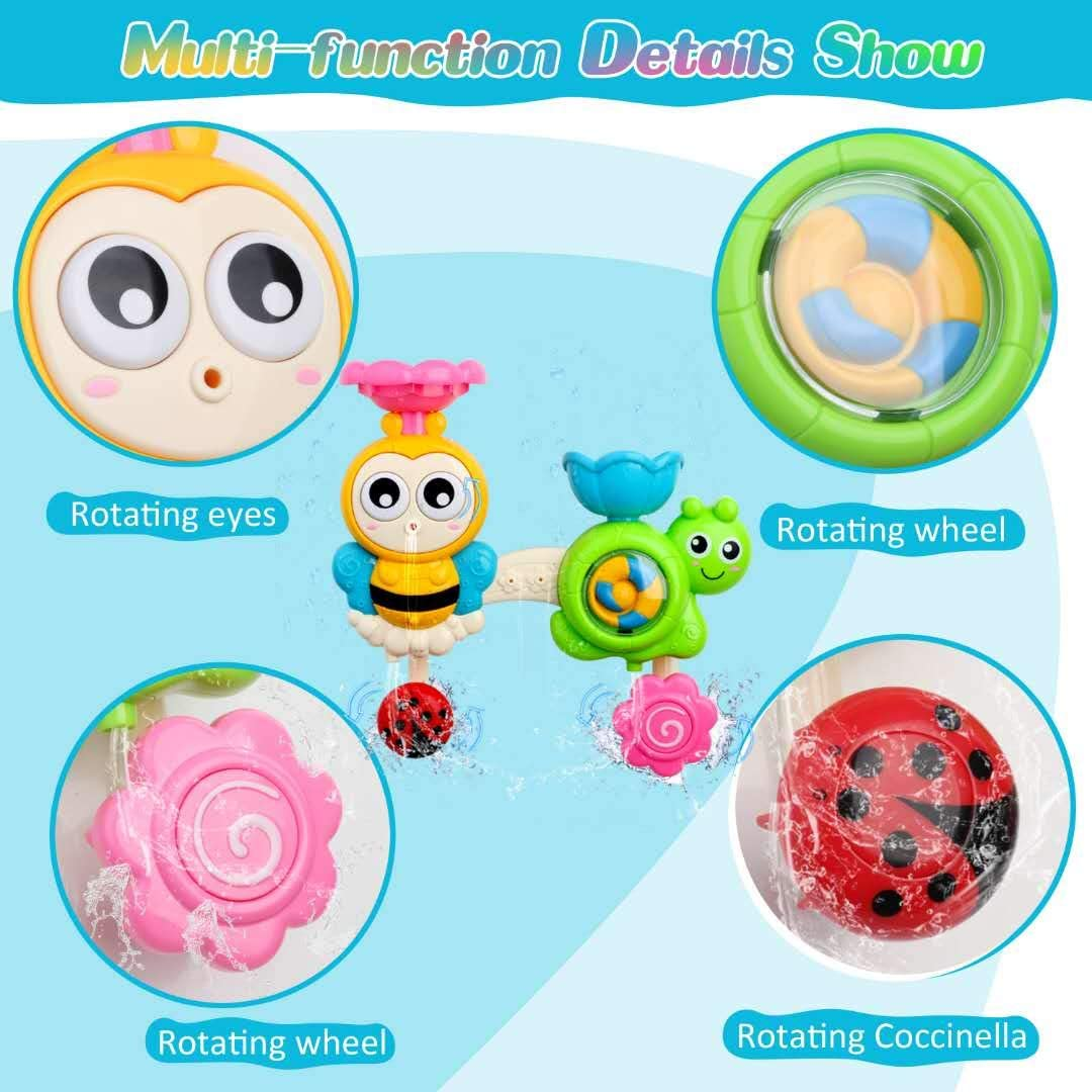 FOYOKEN Bath Toys Bathtub Toy for Toddlers Kids Age 1 2 3 4 Years Old Boys and Girls Baby Water Toy Bee with Spin Gear Rotating Eyes Strong Suction Cups for Bath Time Birthday Gift Ideas Color Box