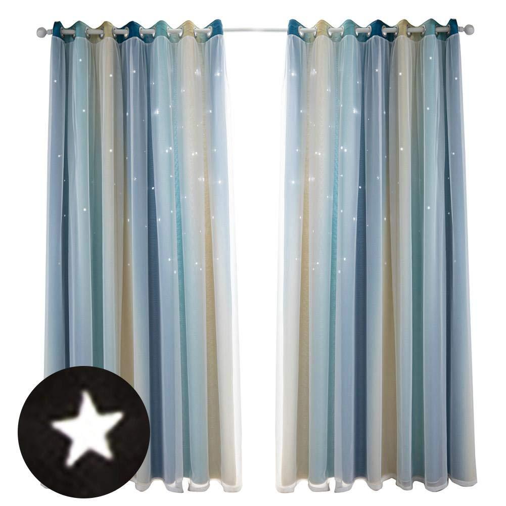 Ploufer Date Star Rideaux /Étoiles Blackout Rideaux pour Enfants Filles Chambre Salon Color/é Double Couche Star Cut Out Stripe Fen/être Rideaux