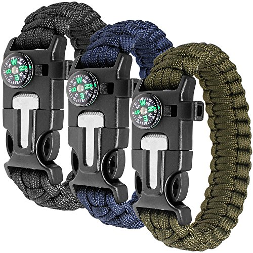 61e24373d7 Paracord Bracelet Kit Set of 3 for Outdoor Survival, maxin 9 INCH Survival  Gear Kit