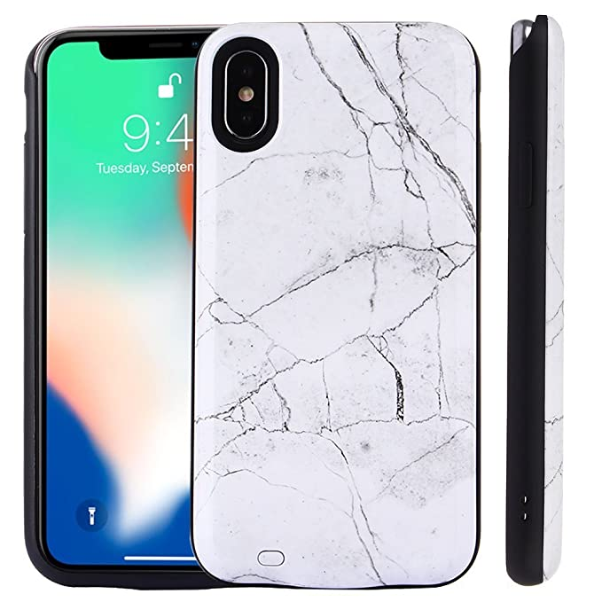san francisco 94b76 e9229 Kiker Mobile, Fashion Smart Battery Case for iPhone X, Ultra-Slim Full  Protection, Marble Back, Ring Stand (Marble - White (4500mAh))
