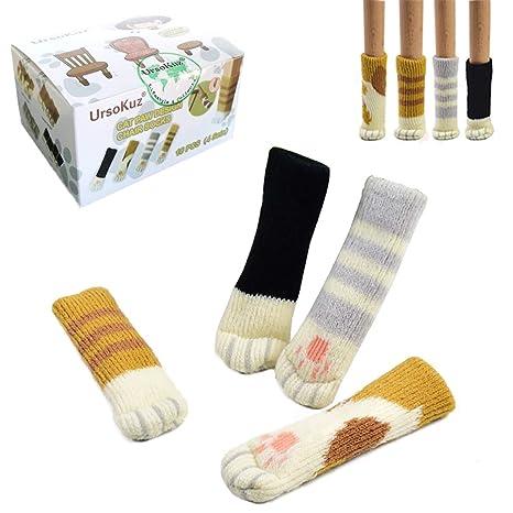 16 Calcetines(4 juegos) de Sillas, Con Diseño Patas de Gato, Protectores