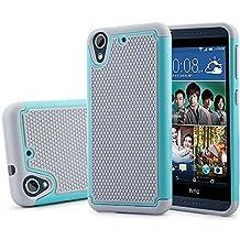 HTC Desire 626 Case, HTC Desire 626s Case, NOKEA [Shockproof] Hybrid Dual Layer Armor Defender Protective Case Cover for HTC Desire 626 / 626s (Grey Aqua)