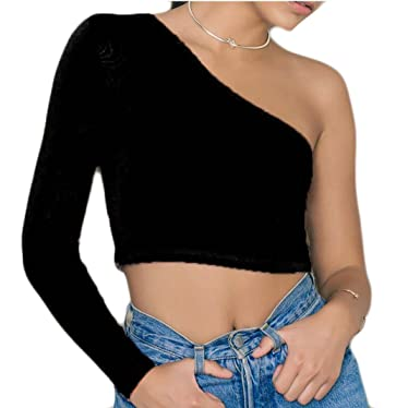 bccab9e7892342 ONTBYB Women's Slim Fit One Shoulder Long Sleeve Solid Color Crop Tops T-Shirt  Black