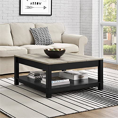 Better Homes and Gardens Langley Bay Coffee Table, Black with Table Napkin Set of 4