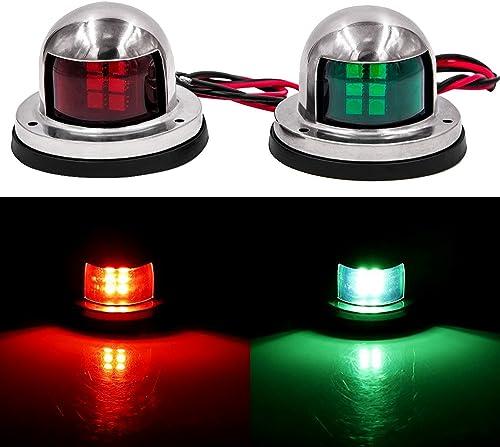 12-V Deck Mount LED Navigation Lights (Sailing Lights for Bow Side, Port, Starboard, Pontoons, Chandlery Boat, Yacht, Skeeter) [Obcursco] Picture