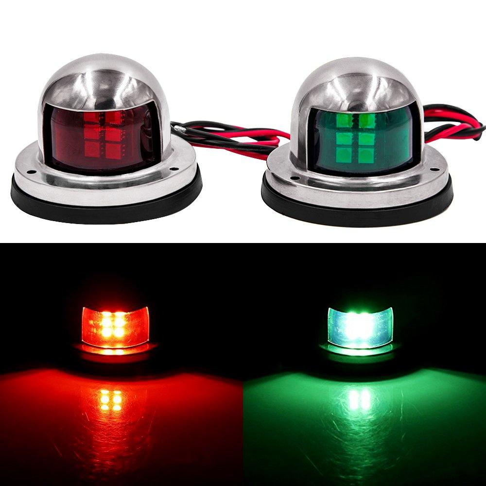 Mounteen LED Navigation Lights, New Marine Sailing Signal Lights for Bow Side,Port, Starboard, Pontoons, Chandlery Boat, Yacht, Skeeter, DC 12V (stainless steel)
