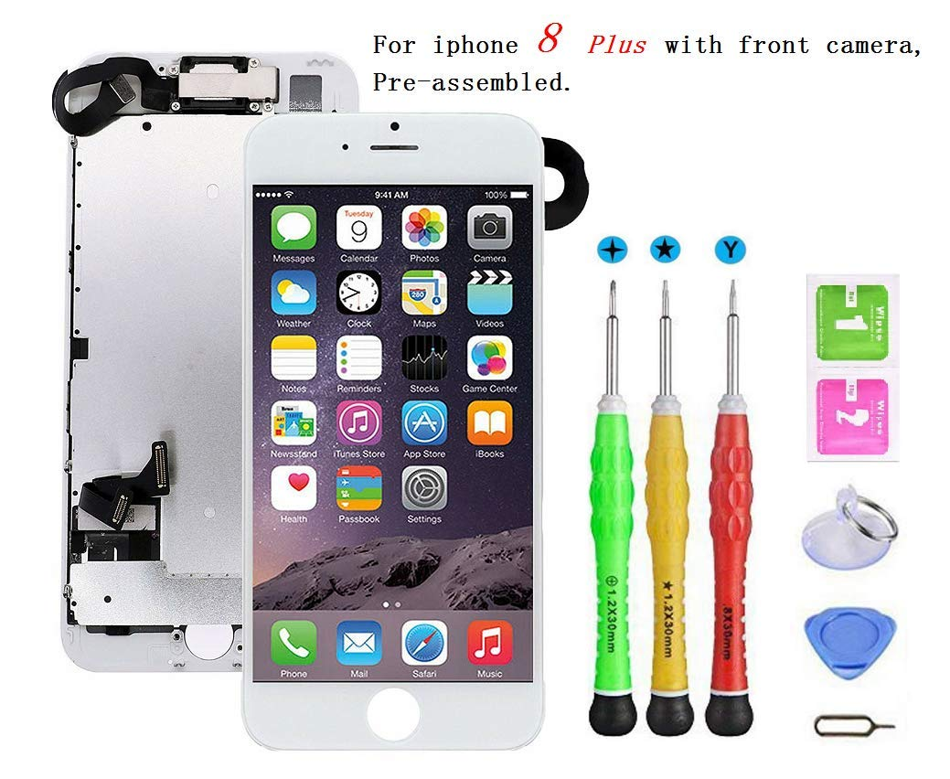 Screen Replacement Compatible with iPhone 8 Plus Full Assembly - LCD 3D Touch Display Digitizer with Sensors and Front Camera, Fit Compatible with iPhone 8 Plus (White) by YUDALCD