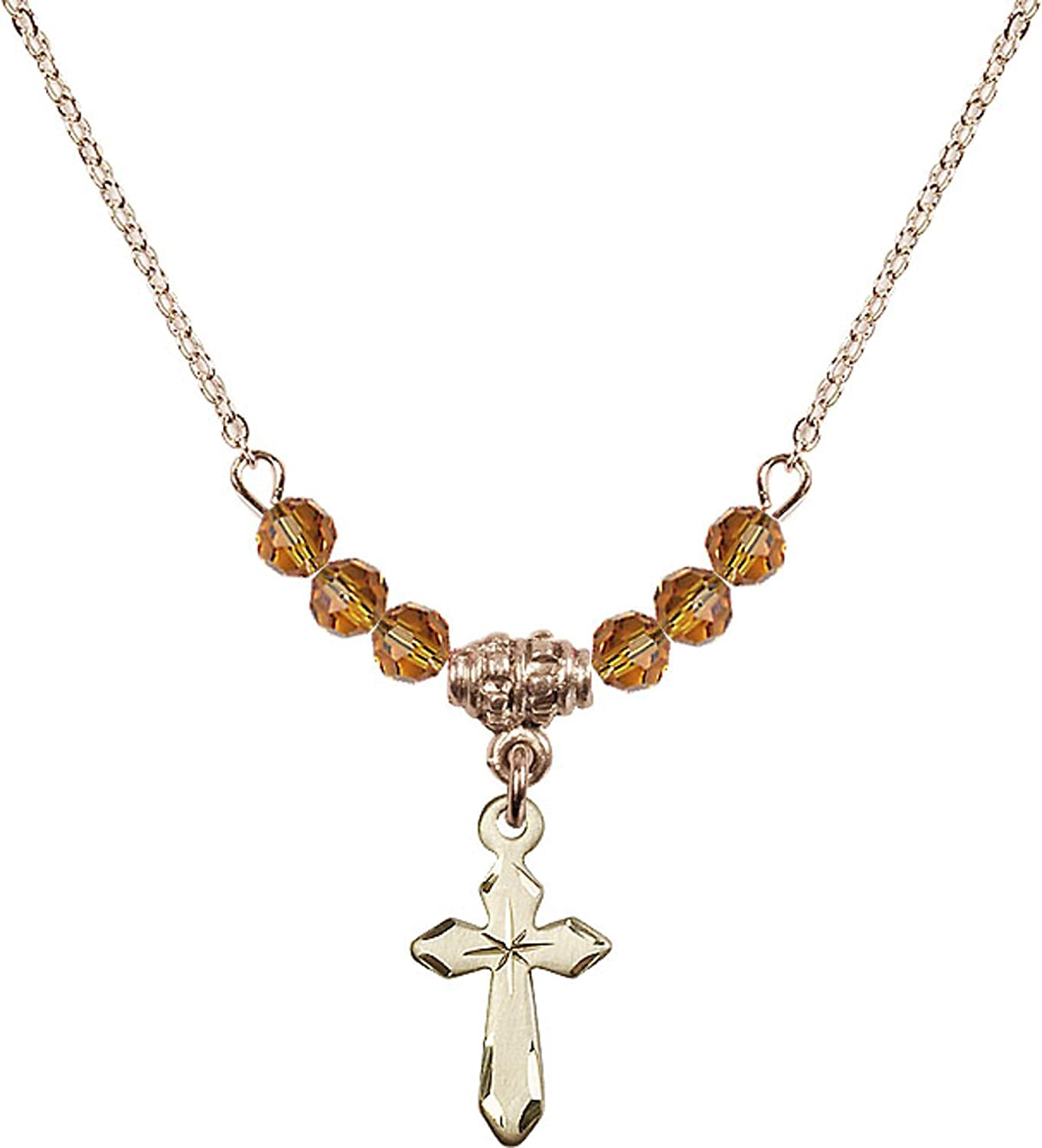 Bonyak Jewelry 18 Inch Hamilton Gold Plated Necklace w// 4mm Yellow November Birth Month Stone Beads and Cross Charm