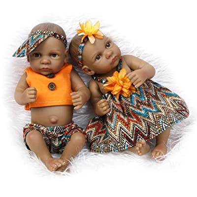 "TERABITHIA Mini 11"" Black Couple Alive Reborn Baby Dolls Silicone Full Body African American Twins: Toys & Games"