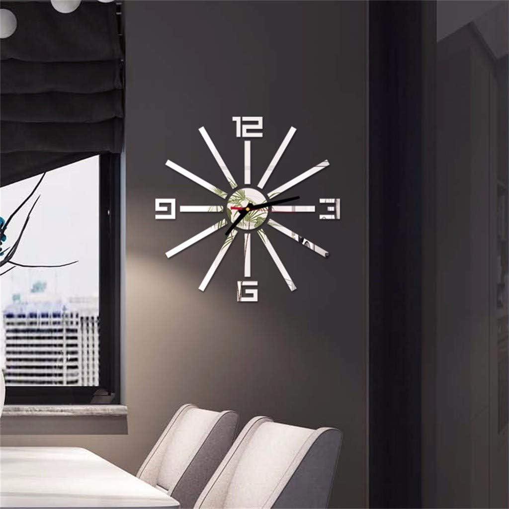 YWLINK 3D DIY Estilo Europeo NúMeros Romanos AcríLico Espejo Etiqueta De La Pared Reloj Casa Cocina Oficina BañO NiñOs Dormitorio Personalidad DecoracióN Mural Tatuajes: Amazon.es: Hogar