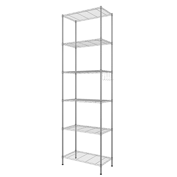 Homdox 6-Tier Storage Shelf Wire Shelving Unit Free Standing Rack Organization with Adjustable Leveling Feet, Stainless Side Hooks, Silver