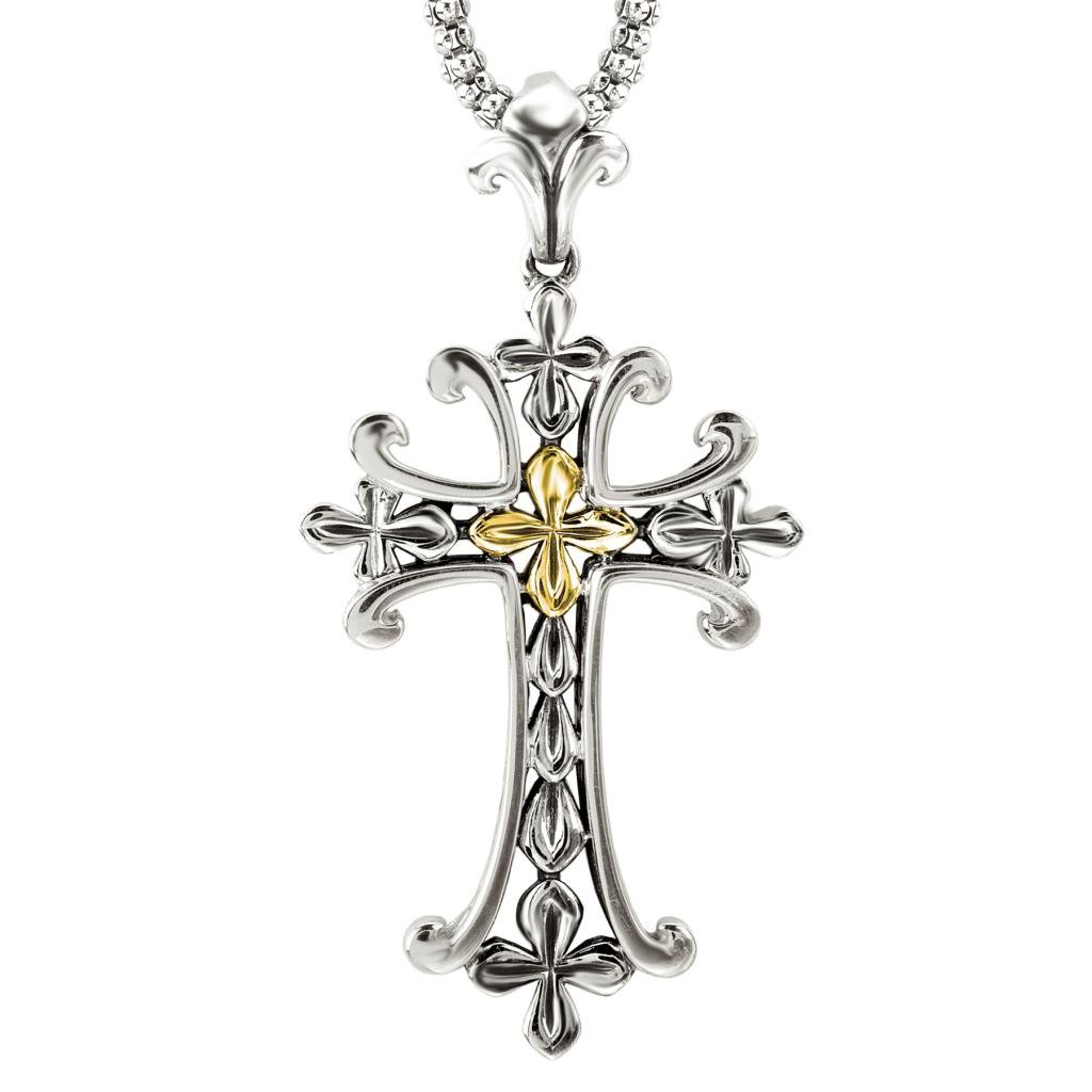 925 Silver Fancy Ornate Cross Pendant with 18k Gold Accents