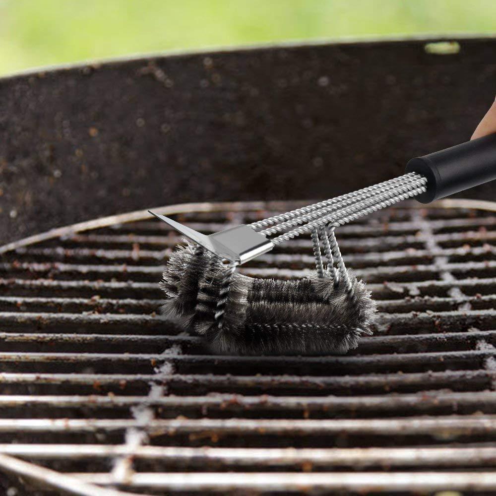 OUTANG Brosse de Gril Triangle Brosse de Nettoyage pour Barbecue Robuste poign/ée Longue avec grattoir pour Le nettoyant de Gril int/érieur et ext/érieur pour Jardin