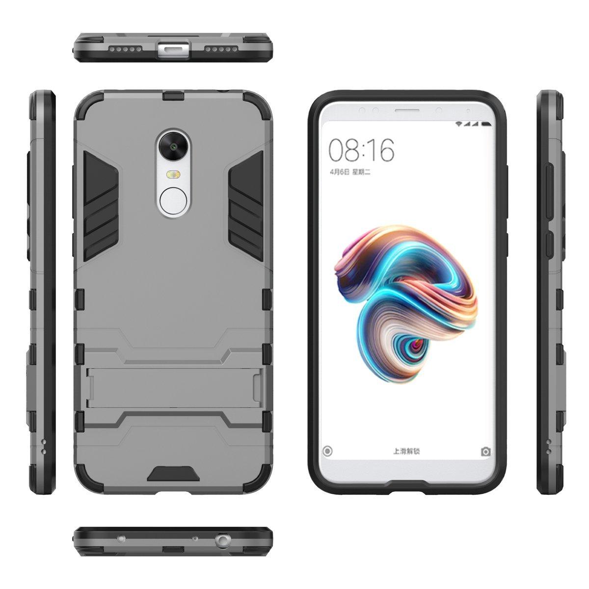 Xiaomi Redmi 5 Plus Funda Anti-Gota Anti-Choques R/ígido Carcasas para Xiaomi Redmi 5 Plus adorehouse Hybrid TPU y PC Bumper Back Cover dise/ño 2 en 1 Plata