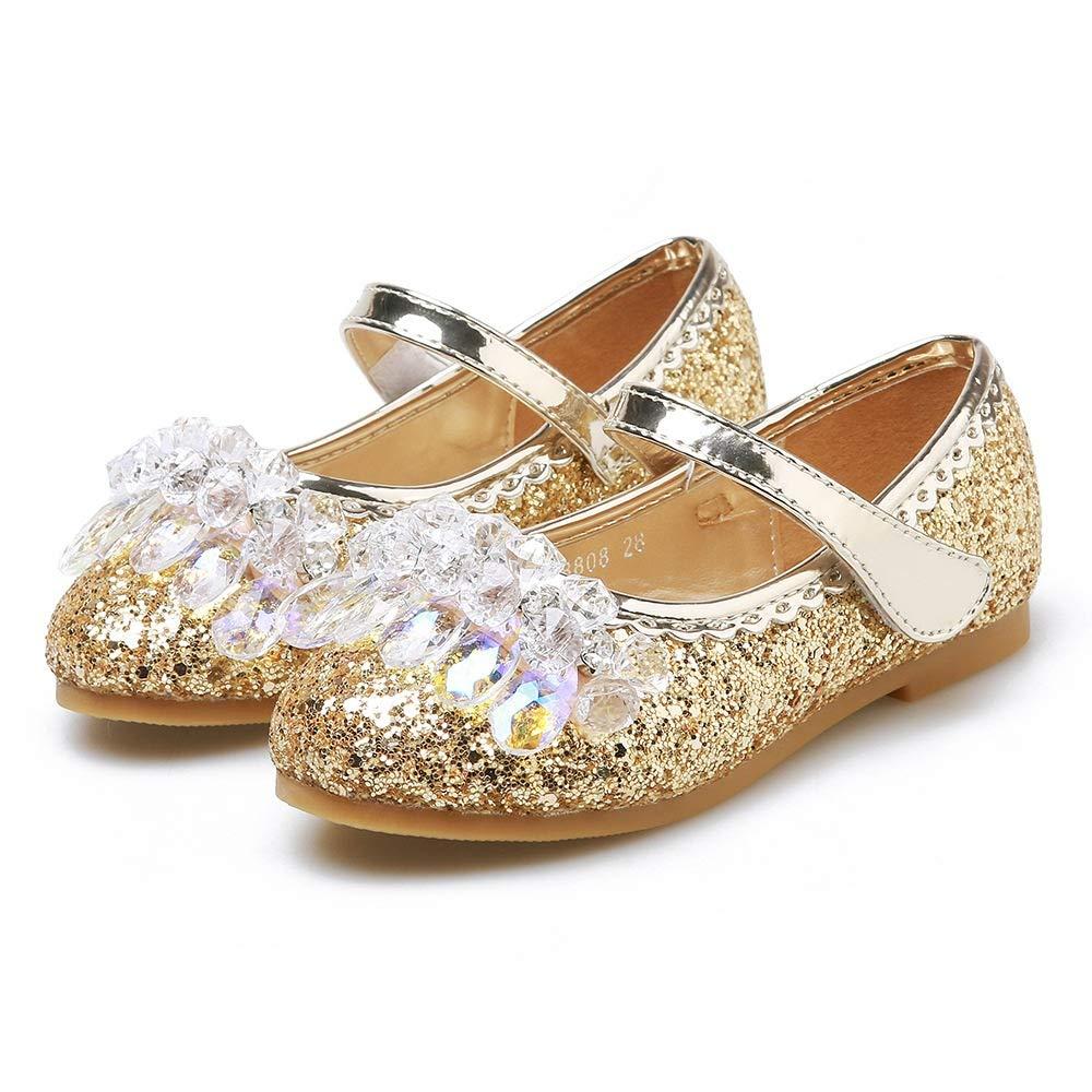 Zxltop Filles Enfants Filles Glitter Fête Chaussures De Mariage Les Filles Toddler/Petit Enfant/Grand enf (Couleur : Rose, Taille : 25)